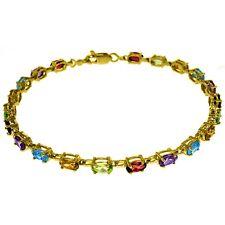 Genuine Oval Multi Gemstones Tennis Line Bracelet 14K Yellow, White or Rose Gold
