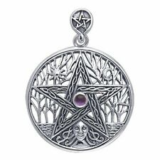 Tree of Life Pentacle Pentagram Pendant Sterling Silver Goddess by Peter Stone
