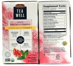2 Celestial Seasonings Tea Well Organic Green Tea Grapefruit Antioxidant Immune