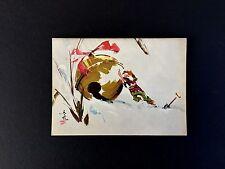 "Disney Artist Tyrus Wong Vintage Xmas Greeting Card ""Santa's Helper"" Gorgeous"