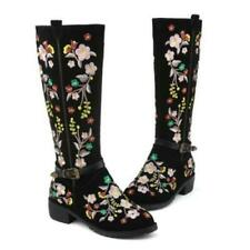 Fashion Womens Riding Knight Combat Floral Embroidered Mid Calf Motorcycle Boots