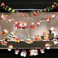 Christmas Party Decor Hanging Elk Snowman Santa Claus Sock Banner Xmas Supplies