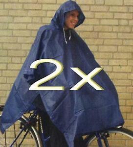 2x Regencape Regenponcho Regenjacke Regenschutz Regen Schutz Fahrrad blau