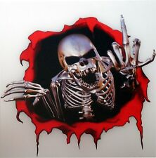 Skull Sticker Middle Finger Fingering Motorcycle Gas Tank Locker Fridge Book #35