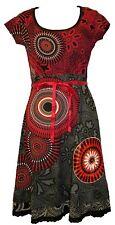 Desigual Bailarina Noa Rojo y Negro de Manga Corta Escote Redondo Vestido Talla XL