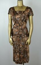 2980406a531 VINTAGE 50 s Rich Satin Peplum Sheath Dress M Cocktails Brown Gold Floral