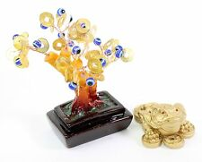 Set of 2~Fengshui Gold Money Frog Blue Evil Eye Money Tree Home Decor Gift