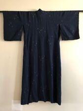 Vintage Navy Blue Silk Belted Kimono Jacket