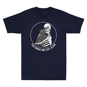 Skellington Hug Cat You Make Me Feel Alive Skeleton Skull Funny Men's T Shirt