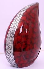Adult Cremation Urn for ashes, Funeral Memorial Teardrop Urn large, Red Clouded