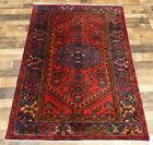 "4'3""x6'9 Handmade wool Authentic Antique geometric Oriental Vintage area rug"