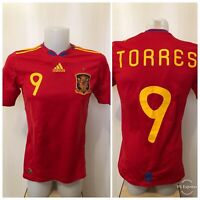 Spain national team #9 Torres 2010/2011 home Adidas Size S soccer shirt jersey