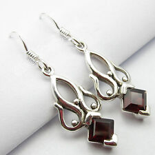 "Sterling Silver Women'S Unusual Earrings 1.5"" Fabulous Red Garnet Stone ! 925"