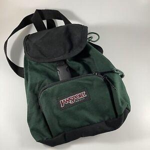 Vintage JanSport Mini Half Pint Small Green Nylon Backpack Unisex Drawstring