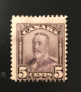 Stamps Canada Sc153 5c Mint deep violet KGV Scroll issue  of 1928, see detail.