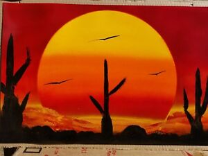 Spray Paint Art Desert SunSet, cactus, birds original 14x22