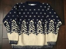 Alpaca Imports Heavy Wool Sweater Navy Off-White Mens