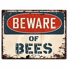 PP0979 Beware of BEES Plate Rustic Chic Sign Home Store Wall Decor Gift