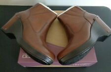 DANSKO Faith Wedge Ankle Boots Booties Studded Heel Size 38 US 7.5 8 Brown NEW