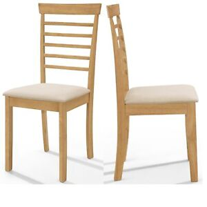 2 x Solid Wood Dining Chairs   Wooden Kitchen Table Seat Pair in oak Finish