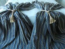 Huge Prof MTM Heavy Woven Tapestry Fleur De Lis Stripe Blue Pair Lined Curtains