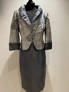 CONDICI Special Occasion Dress , 100% Pure Silk, Two Tone Grey/Silver Size 14