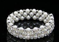 Women Wedding Bridal Bridmaid Pearl Crystal Bling Wristband Bracelet Chain