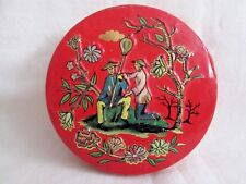 "Vintage Chinese Style Graphics Round TIN Made in England 3"" in Diameter"