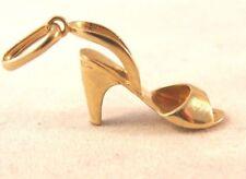 14K Solid Yellow Gold High Heel Open Toe Shoe Sandal Vintage Pendant 1.4gr Charm