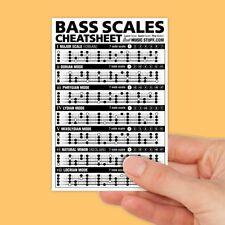 """Bass Scales Cheatsheet Pocket Reference (Laminated & Double Sided) 4""""x6"""""""