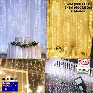 300/600 Led Curtain Fairy Lights Wedding Outdoor Christmas Garden Party Xmas