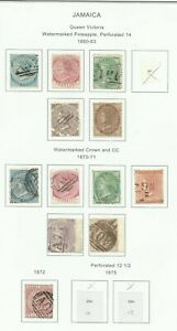 JAMAICA Selection of Good used stamps hinged to page.