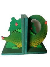 Wooden bookends - Crocodile
