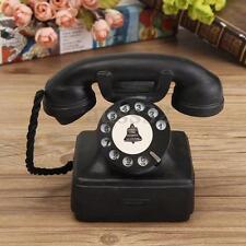 Resin Home Ornaments Vintage 1940s Western Black Rotary Handset Desk Phone Model