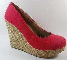 NEW Women's SODA JUDY RED Platform Wedge Heels Espadrilles  Shoes SZ 7.5