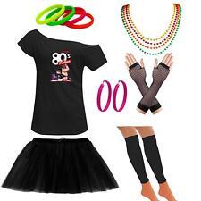 Ladies 80s Parties Off The Shoulder TShirt Tutu Skirt Set Party Accessories 6410