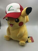 Offically Licensed Pokemon Center Pikachu Plush Ash Hat Trainer NWT New Stuffed