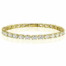 Yellow Gold Flashed Silver Cubic Zirconia 6x4mm Oval-cut Tennis Bracelet
