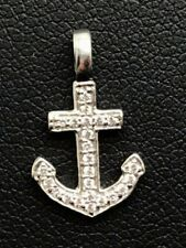 Sterling Silver 925 Channel Set CZ Pave Nautical Elegant - Petite Anchor Pendant