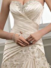 champagne satin mermaid wedding dress bridal gown size custom 6 8 10 12 14 16+++