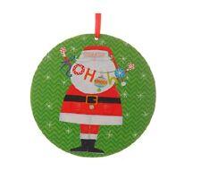 "RAZ Imports 6"" Santa Wood Green Disk Ornament 3516351"