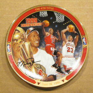 "1997 UPPER DECK MICHAEL JORDAN COLLECTOR PLATE ""THE 4th TITLE""  3.5 INCHES ROUND"