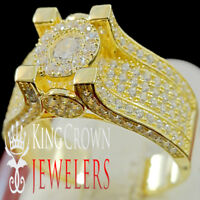 Real Yellow Gold Silver Round Soliter Engagement Ring Ladies Bridal Wedding Band