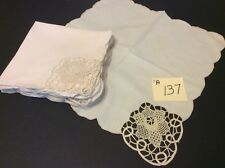 """12 Dinner Napkins Off White Reticella Section In One Corner Of Each 16"""" X 16"""""""