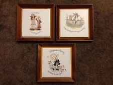 Vintage Holly Hobbie Tile Wooden Frame Or Wall Decor Lot Of 3 8x8�