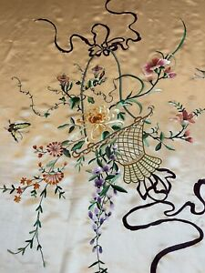"""Antique Chinese Hand Embroidery Panel Wall Hanging Tapestry 55""""By 75"""""""