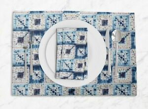 S4Sassy Square Shibori Dining Room Reversible Tablemats With Napkins set-SH-21A