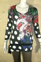 DESIGUAL Taille L - 40 / 42 Tunique manches longues tee shirt blouse noir rose