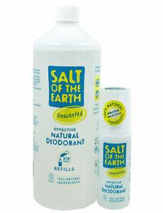 Salz von Dem Earth Geruchlos Deo Nachfüllung Flasche 1000ml Gratis Spray 100ml