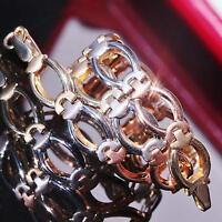 """14k multi tone gold bracelet 7.25"""" Turkish link chain vintage handmade 4.5gr"""